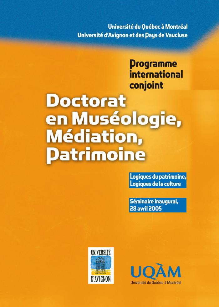 Couverture de Doctorat en muséologie, médiation, patrimoine